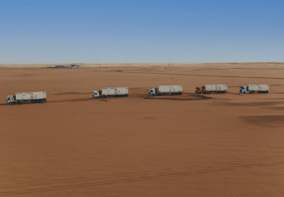 Trucks driving in the desert in Egypt